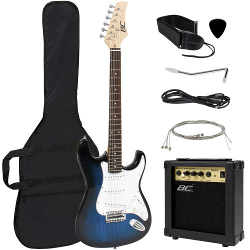 Full Size Blue Electric Guitar with Amp and Accessories