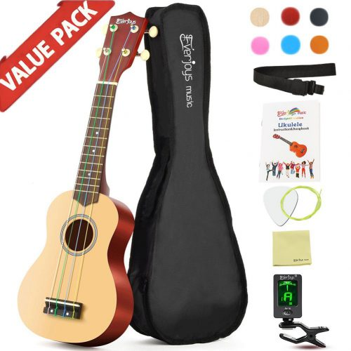 Everjoys 21 Inch Soprano Rainbow Ukulele Beginner Pack